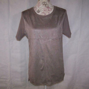 GNW Sweater Top Large Faux Suede High Low Stretch